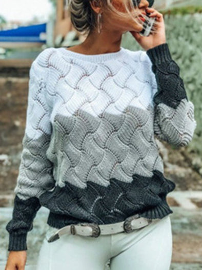Knitted Long Sleeve Stripes Casual Knitwear