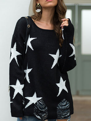 Star Printed Long Sleeve Women's Sweaters