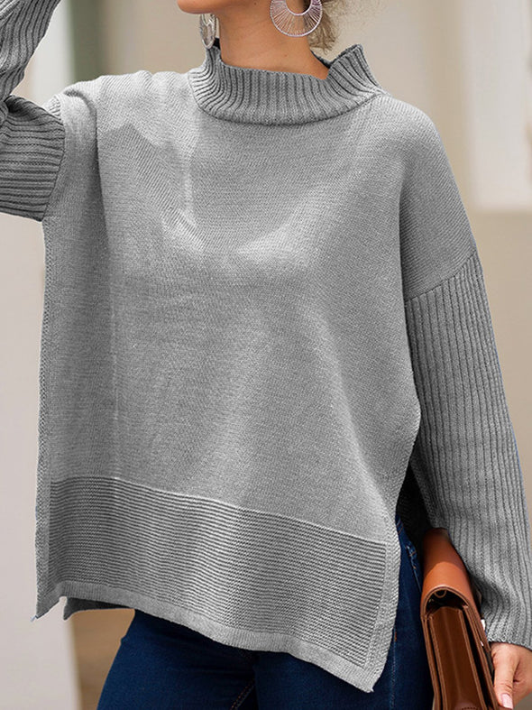 Turtleneck Slit Long Sleeve Knitwear