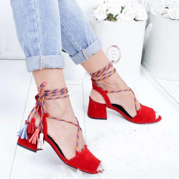 Lace-up Daily Chunky Heel Pumps