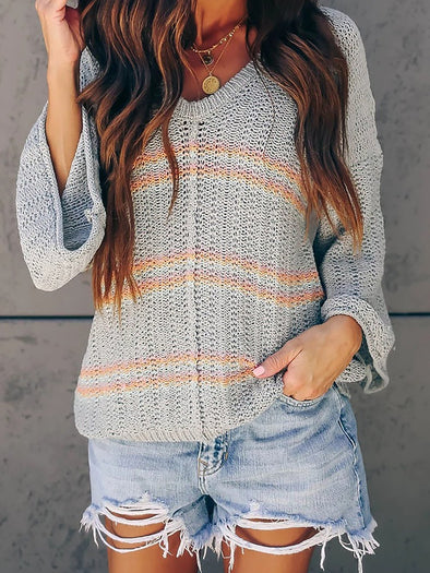 Casual Cotton Knitted Striped Knitwear