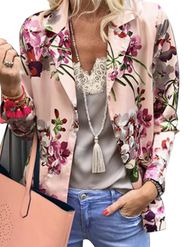 Pink Floral Lapel Long Sleeve Outerwear