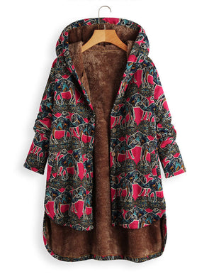 Printed Vintage Animal Long Sleeve Coat