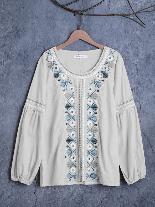 Long Sleeve Floral Cotton Tops