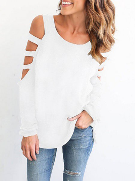 Solid Long Sleeve Cutout Cold Shoulder Sweaters