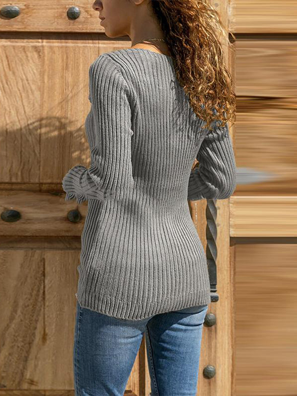 Long Sleeve Solid Knitted Knitwear
