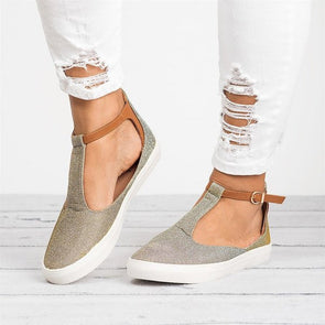 Adjustable Buckle Casual Flat Heel Shoes