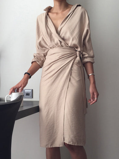 Solid Casual Sheath Shawl Collar Dress