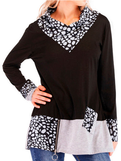 Long Sleeve Cotton-Blend Turn-Down Collar Simple & Basic Tops