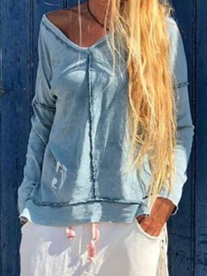 Plain Long Sleeve Cotton Paneled Tops