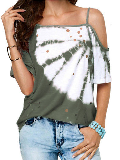 Summer Ombre Printed Asymmetrical Casual T-Shirts