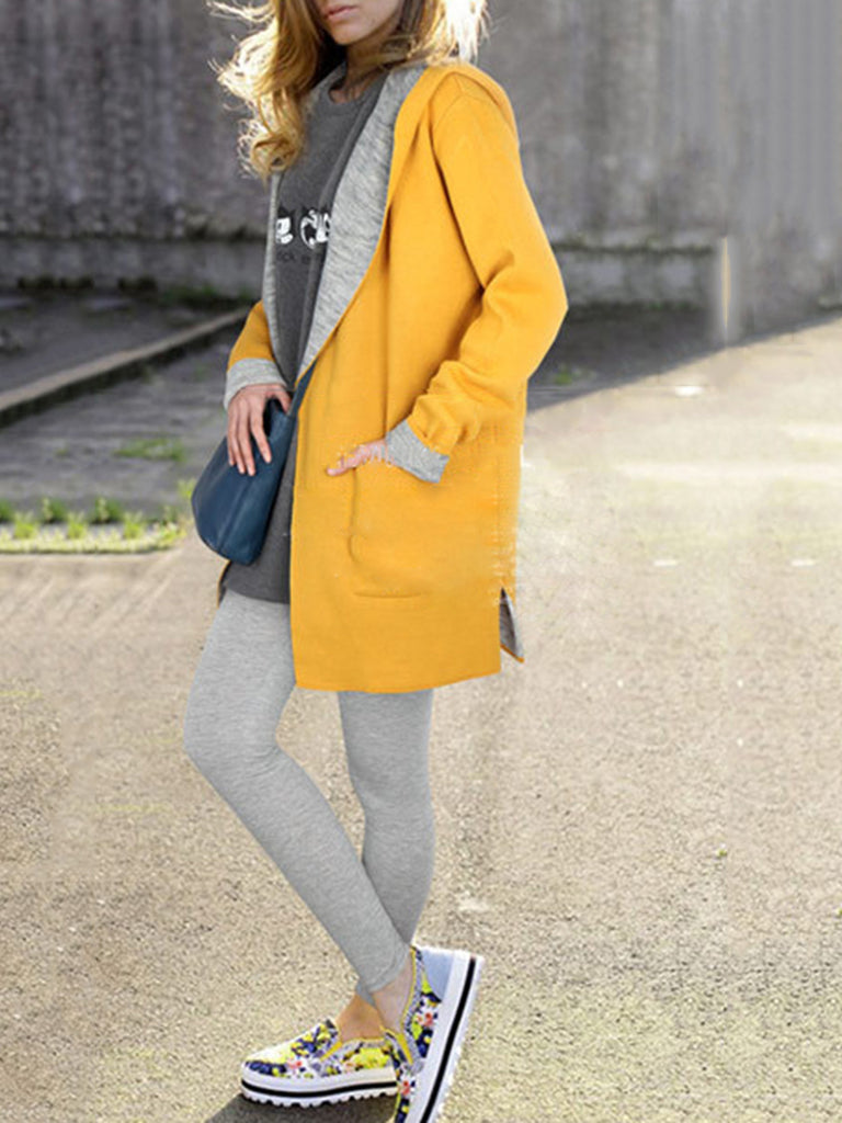 Casual Hoodie Plain Pockets Coat