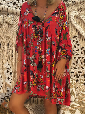 Floral Cotton-Blend Long Sleeve Dress
