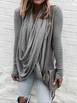 Long Sleeve Cotton Casual Draped Sweater