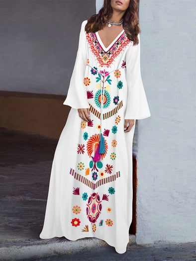 White V Neck Shift Embroidered Long Sleeve Dress