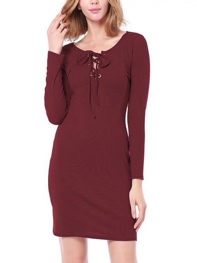 Knitted Sexy Round Neck Long Sleeve Dress