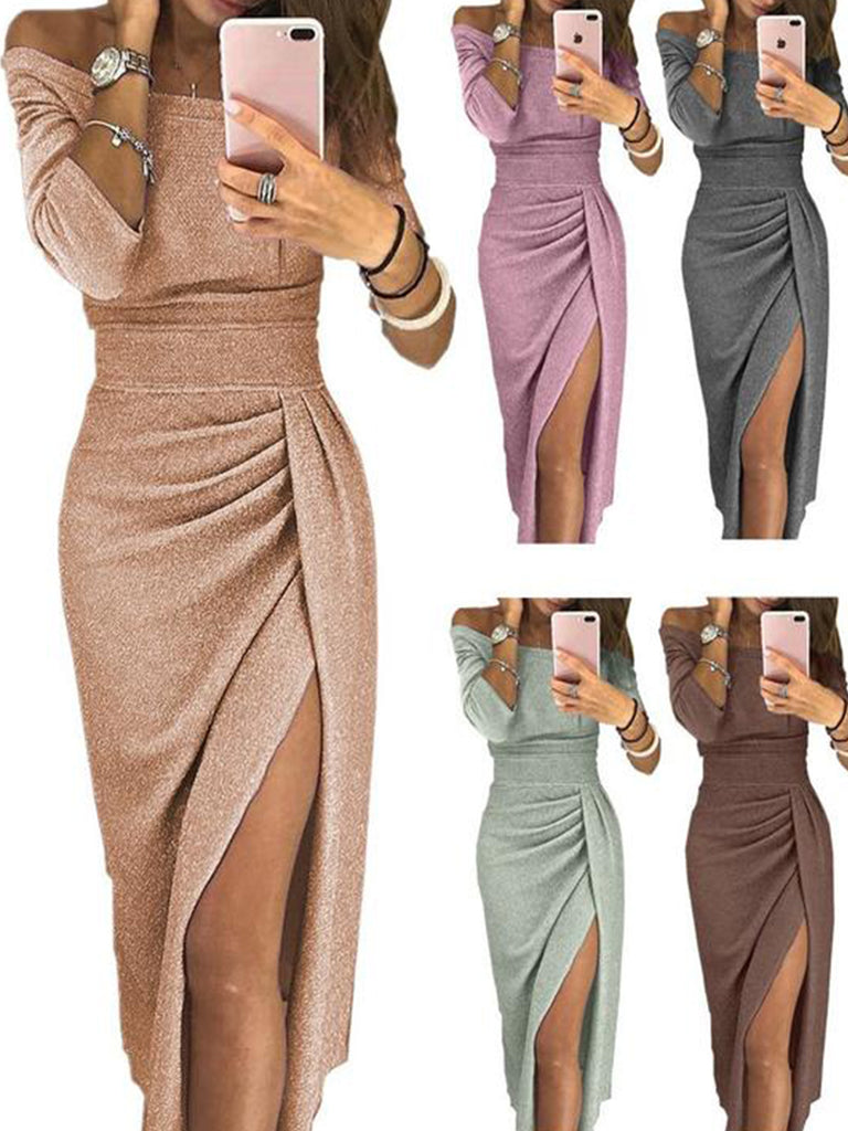 Long Sleeve Plain Slit Sexy Dress