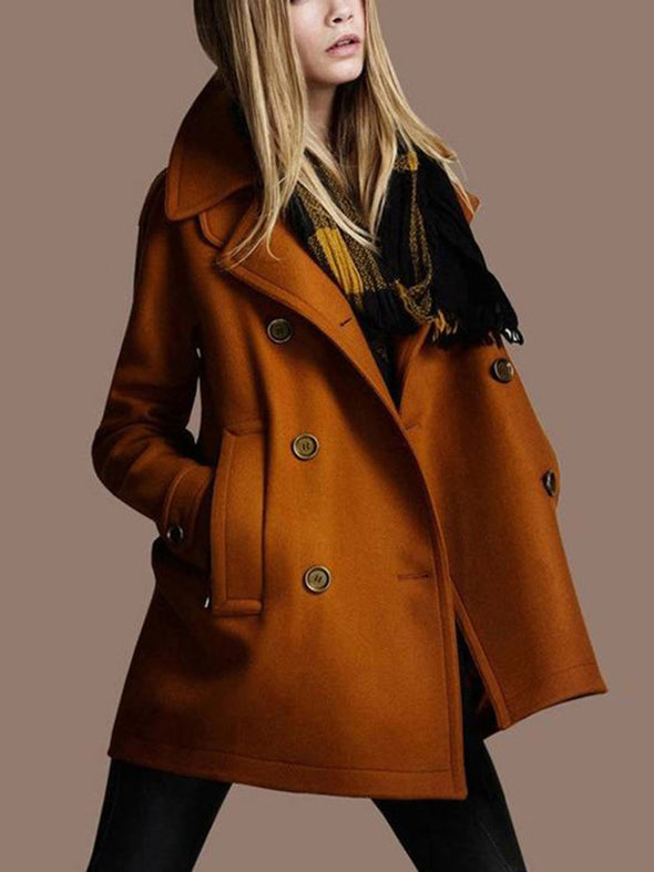 Double-Breasted Long Sleeve Autumn Winter Mid-Length Thick Trench Coat