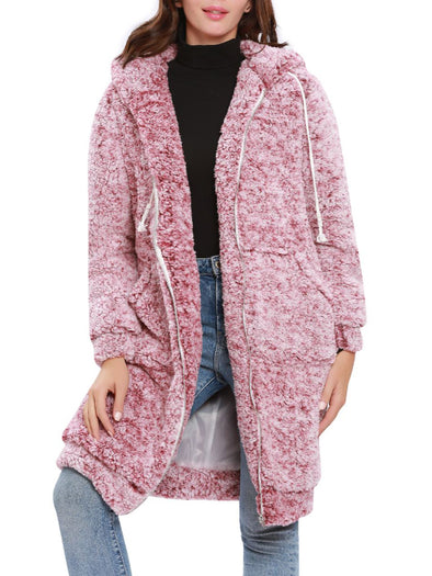 Pink Long Sleeve Casual Outerwear