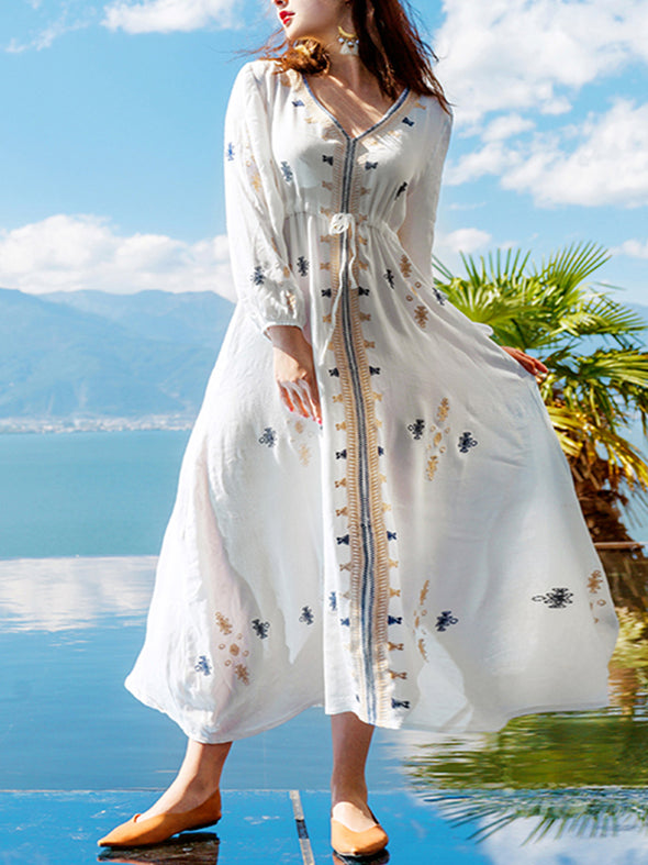 Cotton and hemp embroidered dress Dress