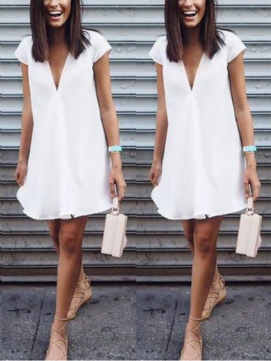 Casual Short Sleeve V Neck Dress