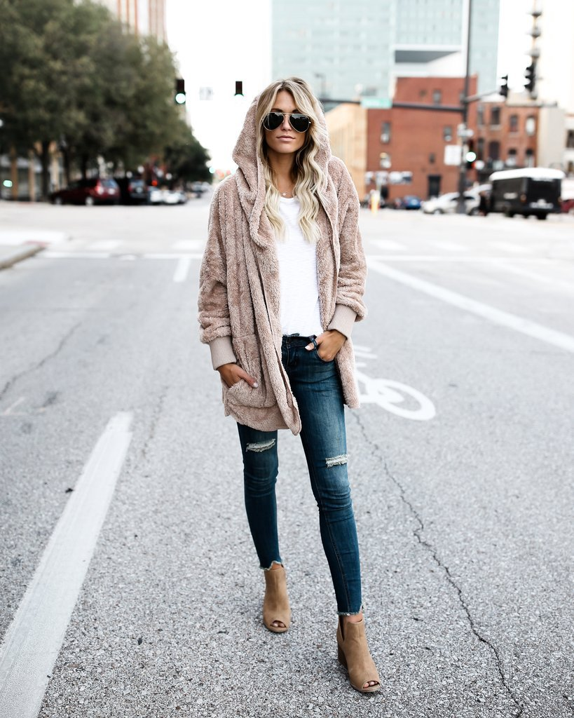 Plain Plush Casual Hoodie Coat