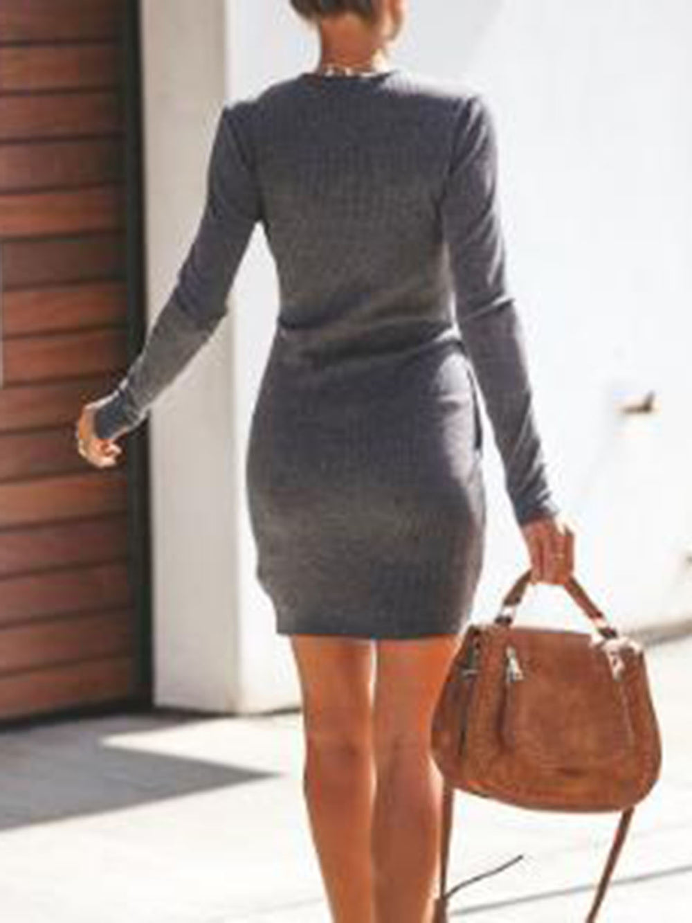 Cotton-Blend Long Sleeve V Neck Dress