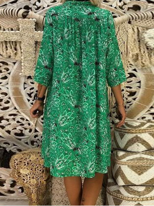 Sweet Cotton Floral 3/4 Sleeve Dress