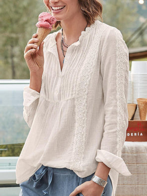 White Solid Cotton-Blend Guipure Lace Long Sleeve Tops