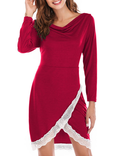 Casual Long Sleeve Cowl Neck Dress