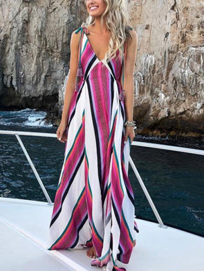 Pink V Neck Sleeveless Striped Dress