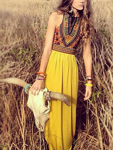 As Picture Printed Boho Dress