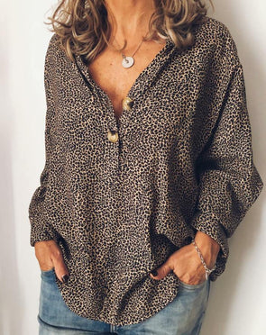 Cotton-Blend Leopard Print Long Sleeve Casual Tops