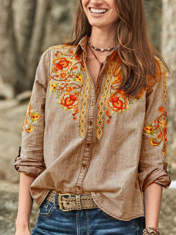 Long Sleeve Casual Buttoned Cotton-Blend Tops