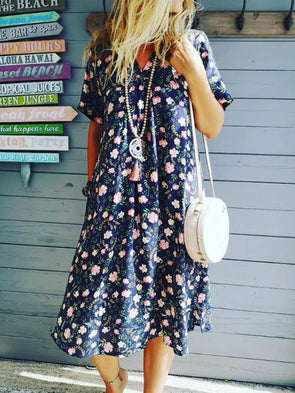 Short Sleeve Cotton Casual Floral Dress