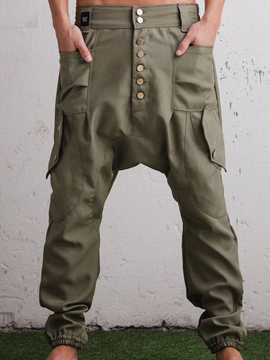 Army Green Casual Pockets Pants