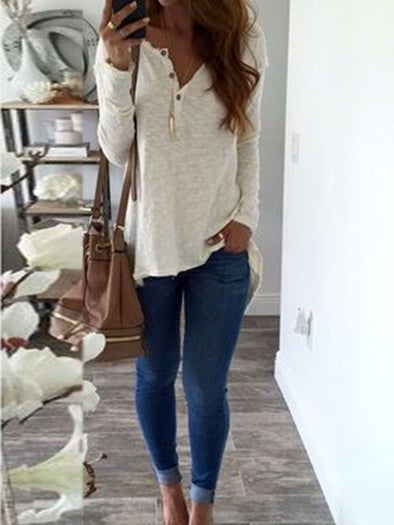 Solid V Neck Cotton Tops