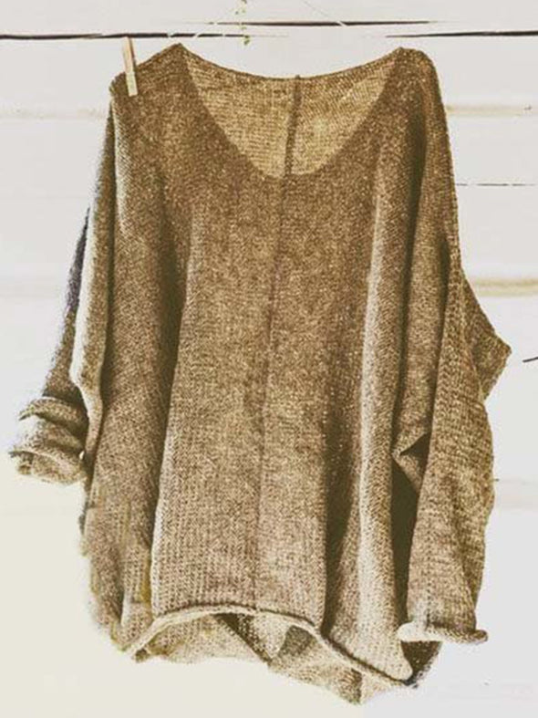 Knitted Long Sleeve Casual V Neck Knitwear