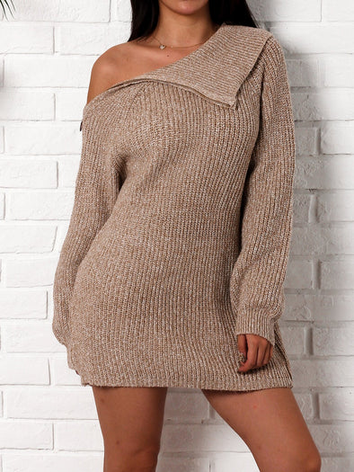 Khaki Long Sleeve Solid Shift Casual Knitwear