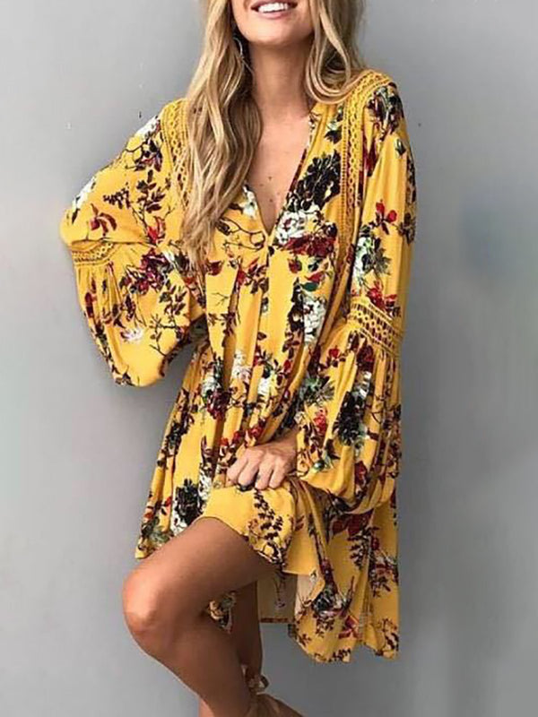 V neck Yellow Women Going out Balloon Sleeve Paneled Floral Dress
