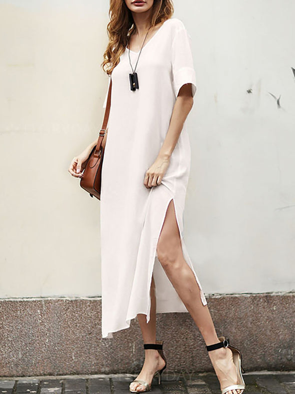 White Solid Casual Shift Slit Dress