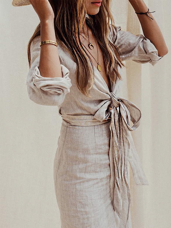 Gray Long Sleeve Bandage Linen Solid Dress