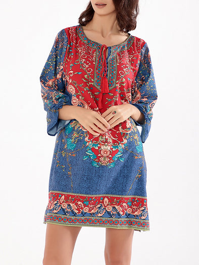 3/4 Sleeve Casual Printed Dress
