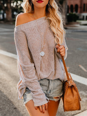 Cotton-Blend One Shoulder Long Sleeve See-Through Look Knitwear
