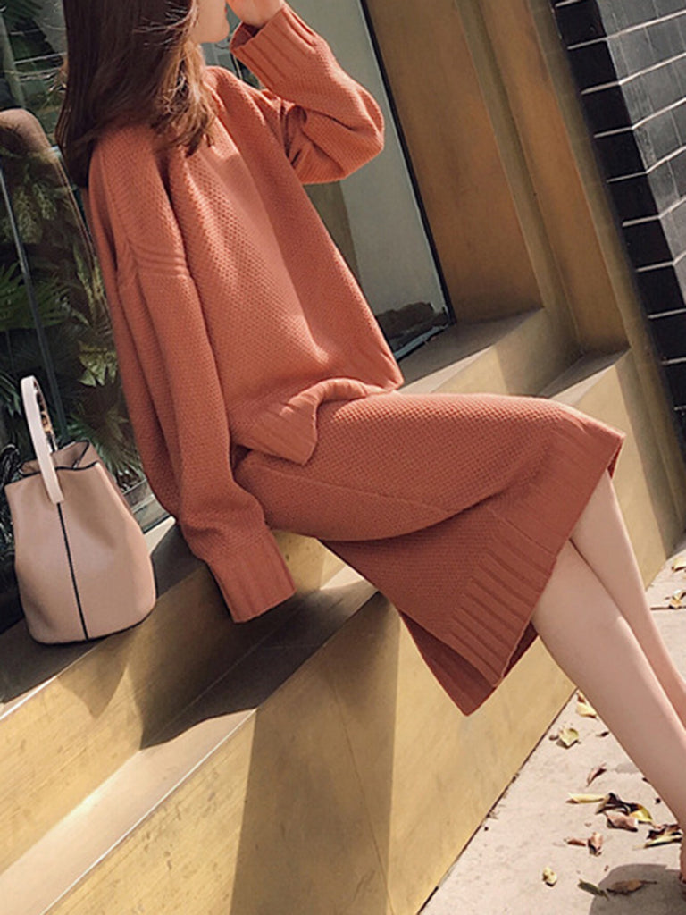 olid Two Piece Long Sleeve Slit Knitted Women's Set