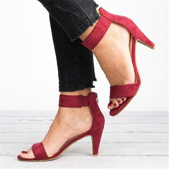Women Casual Ankle Strap Zipper Shoes