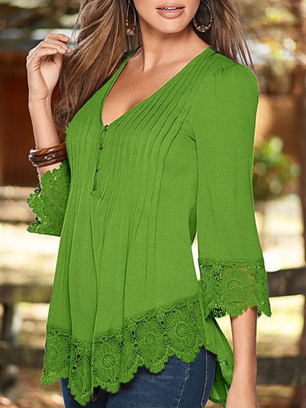 3/4 Sleeve Cotton Patchwork Blouse