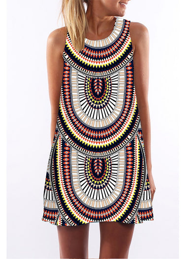 Multicolor Casual Crew Neck Abstract Dress