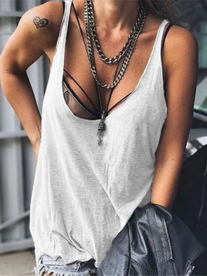 Solid Casual V Neck Tops