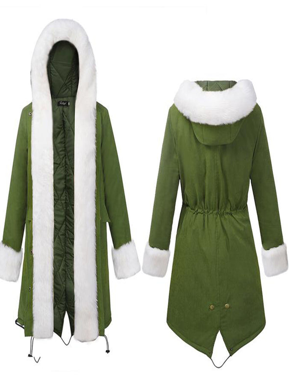 Warm Vintage Casual Cotton-Blend Long Sleeve Army Green Coat